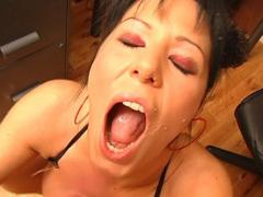 Busty Dark Haired Girl Sucks & Mouthful Movies