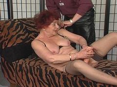 Kinky Old Chic Plays With A Very Big Rubber Cock