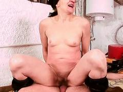Old Hairy Pussy Is Delighted To Feel A Big Cock