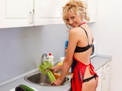 Housewife Tempts As She Prepares Dinner In Her Thong And Bra