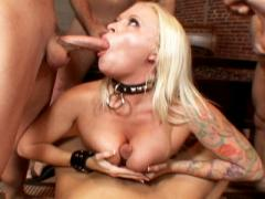 Angel Vain Swallowing Huge Amounts Of Cum In A Blowbang