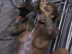 Tattooed Blonde Bending Over & Drinking Movies
