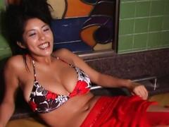 Harumi Nemoto Asian Has Huge Melons Oiled And In Colorful Bra