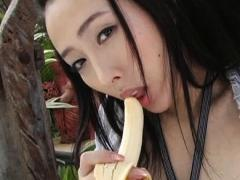 Kaori Okamoto Asian In Black Lingerie Plays With Banana And Thong