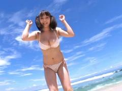 Kaori Teranishi Asian Shows Big Cans In Bra Playing On The Beach
