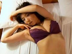 China Fukunaga With Huge And Round Boobs In Sexy Bra Lays In Bed