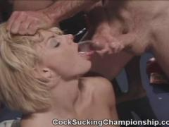 Watch Two Hot Blonde Porn Stars Battle It Out Sucking Cock After Cock In Thi