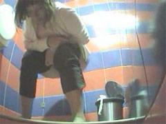 Two Chicks Pees In Dirty Public Toilet