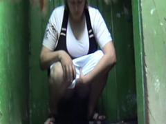 Awesome Voyeur Footage From Shabby Outdoor Toilets