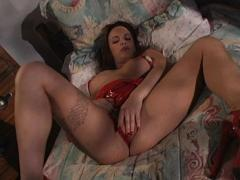 Brunette With Pierced Clit Plays With Chrome Dildo