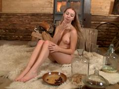 On The Soft Fur Rug, This Cute Teen Has Her Tender Pussy Pen...