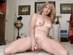 Sweet Blonde Milf Stuffs Her Fuzzy Pussy With A Vibrator
