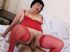 Sexy Mature Lika Parts Her Stocking Wrapped Thighs To Guide ...