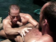 Hard Muscled Gay Brent Banes Flexing His Muscles While His P...