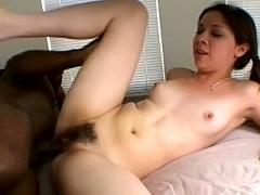 Brunette Babe Gets Her Bushy Cunt Fucked