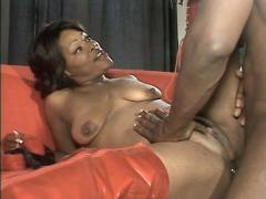 Busty Ebony In Vinyl Boots Storm Spreading Her Pussy And Tak...