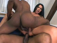 Nasty Bitch Gets Her Ass Full Of Cum By 2 Big Black Dicks
