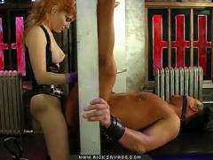 Hot Femdom Binds His Cock And Fucks Him With A Strapon