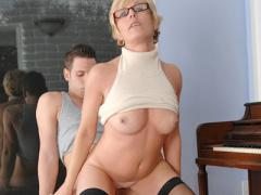 Sexy Milf In Glasses Sucks And Fucks Her Boy Toy