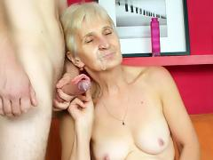 Grandma Irene Removes Her Dentures To Give Her Stud A Blowjo...