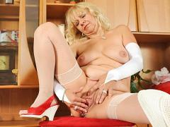 Pretty Grandma Fingers Her Experienced Pussy At Anilos