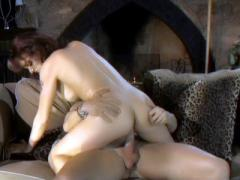 Redhead Monica Mayhem Sizes Up A Cock With Her Lips Then Str...