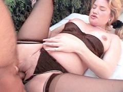 Horny Mom To Be Blonde Bending Over To Service Two Hard Cock...