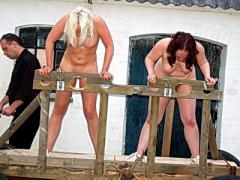 Brutal Outdoor Spanking Of Two Amateur Slaves In Hardcore Bd...