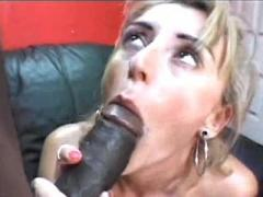 Milf Shorty Slobbers Huge Black Rod