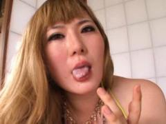 Japanese AV Model With Big Boobs Out Of Bra Takes Dick In Mouth