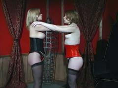 Fierce Mistress Erzsebet Ties Her Two Hot Slaves Together And Gags Them In This BDSM Lezdom