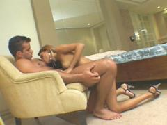 Sexy Colored Hair Girl Doing Foreplay With A Muscled Guy
