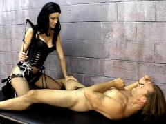 Dominatrix Leah Wilde Trains A Buffed Prisoner Into Licking Her Ass In This Prison Bdsm Sce