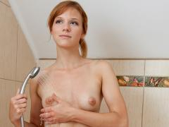 Pretty Nubile Emi Teases Her Puffy Nipples In The Shower