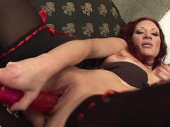 Horny Mature Redhead Shows Off Her Experienced Cunt By Cramming It With A Huge Rubber Dildo