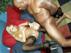 Jasmine Unleashes Her Big Breasts While A Big Black Dick Fills Her Tiny Butthole
