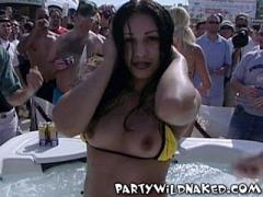 Wild Party Girls Getting Wet And Flashing Their Tits