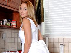 Housewife Samantha Rae Lifts Her Dress Showing Her Sheer Panties