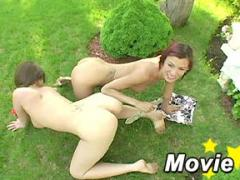 Sexy 18yo Lesbians Getting Really Naughty On Green Grass