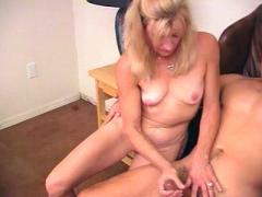 Horny Blonde Mama Having Her Firm Tits Massaged By Young Gor...