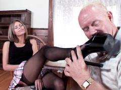 Naughty Natalie Sky Takes Off Her Stockings As She Foot Fuck...