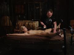 Tara Lynn Young Blonde Bondage Freak Is Toyed By Male Domina...