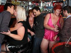 The Orgy Starts In The Bar And Features The Hot Fat Chicks Fooling Around With Slende