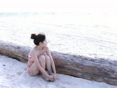 Erika Mori Asian In Colorful Bath Suit Is Romantic On Sea Shore