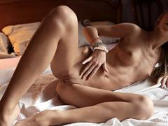 Super Sensual Hot Teen Babe Posing On Bed, Showing Her Adorable Attributes. Video Abo