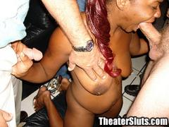 Sex Crazed Ebony Freak Goes Buck Wild In A Seedy Porn Theater