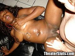 Busty Black Girl Cedra Pleasing Horny Perverts In A Porn Theater