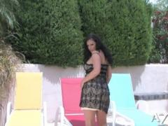 Gorgeous Busty Brunette, Aria Giovanni, Puts On A Sexy Striptease Outdoors And Peels