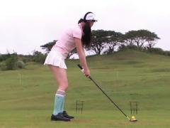 Rina Akiyama Asian Plays Golf Wearing Very Short Skirt And Socks
