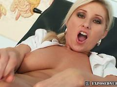 Good Looking Nurse Leona Ith Natural Boobs Spreading Minge On Gynchair